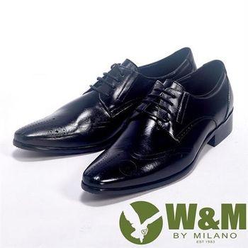 【W&M】手工質感MIT雕花鞋面_真皮透氣舒適皮鞋(黑)
