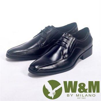 【W&M】手工質感MIT俐落精緻_真皮透氣舒適皮鞋(黑)