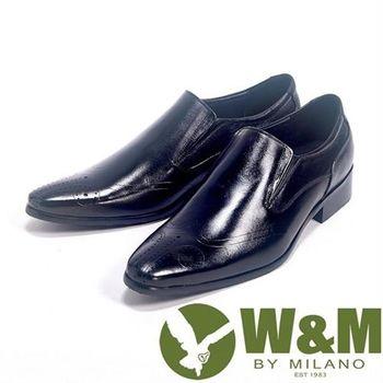 【W&M】手工質感MIT鬆緊帶直套_真皮透氣舒適皮鞋(黑)