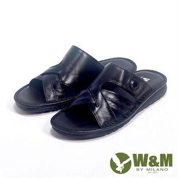 【W&M】亮皮透氣厚底軟墊涼拖鞋男鞋-黑