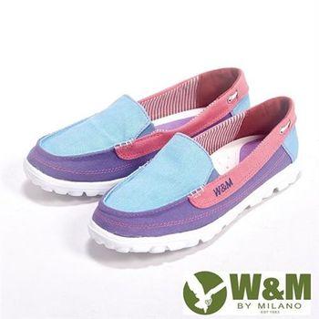 【W&M】BOUNCE系列 超彈力舒適雙色拼布增高鞋女鞋-淺藍