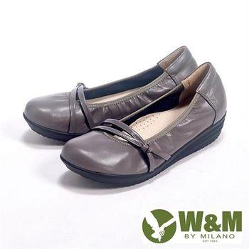 【W&M】上班兼休閒假綁帶直套增高娃娃鞋女鞋-灰