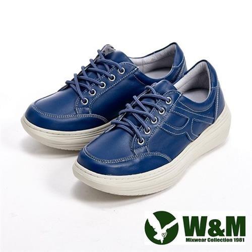 【W&M】FIT系列 簡約氣墊增高綁帶休閒女鞋-藍(另有紅)