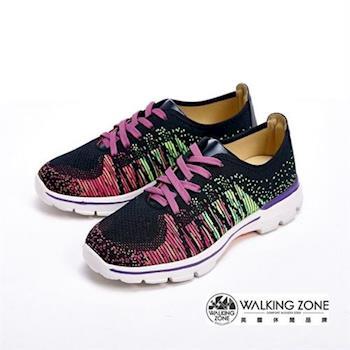 【WALKING ZONE】飛線氣墊慢跑鞋 彩虹針織運動鞋 情侶鞋(女款)-紫(另有藍)