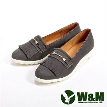 【W&M】輕量造型流蘇休閒女鞋-灰(另有紅/卡其)