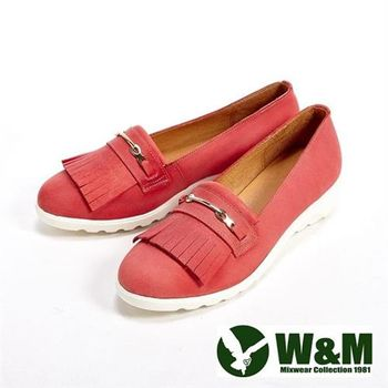 【W&M】輕量造型流蘇休閒女鞋-紅(另有灰/卡其)