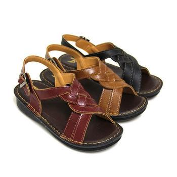 【Pretty】復古風情麻花厚底休閒涼鞋-紅色、棕色、黑色