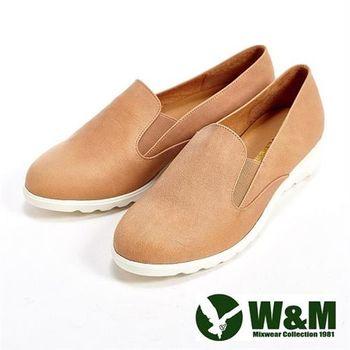 【W&M】輕量素面休閒懶人女鞋-卡其(另有灰)