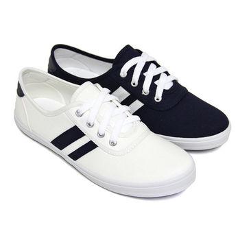 【Pretty】雙斜紋綁帶平底休閒帆布鞋-藍色、白色