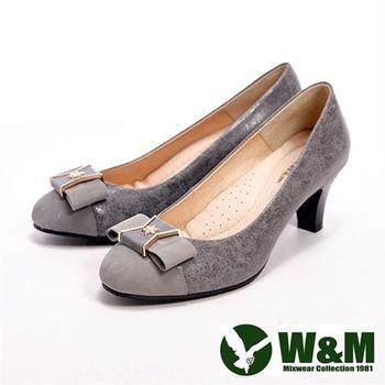 【W&M】 真皮質感燙金雪花造型高跟女鞋- 灰(另有黑)