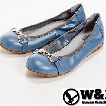 【W&M】金屬蝴蝶結防滑鞋底娃娃鞋-藍(另有黑)