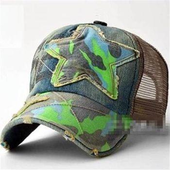 【米蘭精品】網帽棒球帽牛仔拼布迷彩星星遮陽帽子56g76