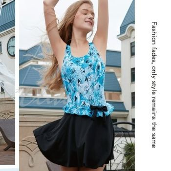 【沙麗品牌】腰際蝴蝶結裝飾時尚連身裙泳裝NO.5123(現貨+預購)
