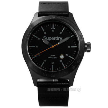 Superdry 極度乾燥 / SYG105TBA / 質感紳士指標真皮手錶 黑色 44mm