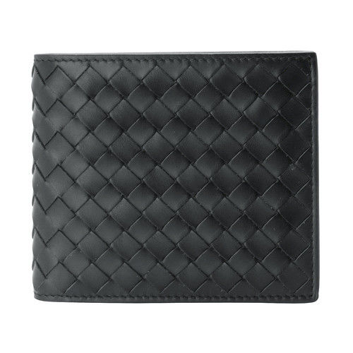BOTTEGA VENETA 經典編織小羊皮摺疊短夾(灰色-4卡)