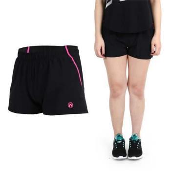 【FIRESTAR】女慢跑短褲-路跑 健身 黑桃紅  腰部抽繩設計