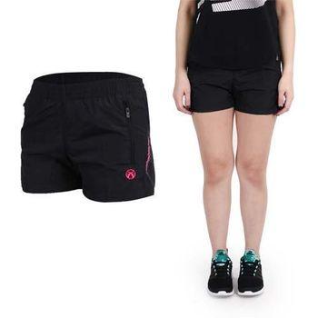 【FIRESTAR】女休閒短褲-路跑 慢跑 健身 黑桃紅  側邊拉鏈袋