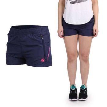 【FIRESTAR】女休閒短褲-路跑 慢跑 健身 深紫桃紅  側邊拉鏈袋