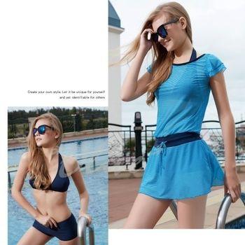 【沙麗品牌】連身裙罩衫時尚三件式比基尼泳裝NO.5124(現貨+預購)