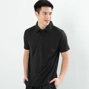 任-CoolMax 吸濕排汗衣涼感舒適真機能吸排素色POLO衫型男款 黑色