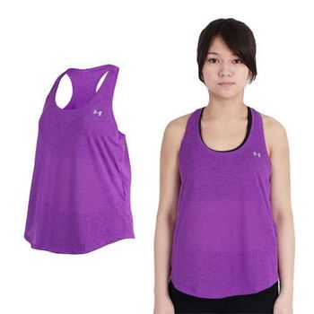 【UNDER ARMOUR】UA HG TECH SLUB FLOWY女背心 紫銀  100%聚酯纖維