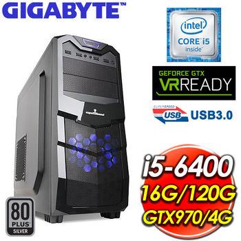|技嘉 H170 平台|虛無新月 Intel Core i5-6400 16G 120G SSD N970 電競VR 虛擬實境 桌上型電腦