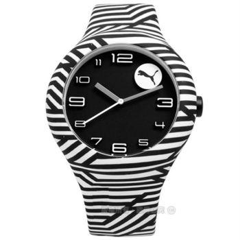 PUMA / PU103211026 / 經典斑馬紋路運動矽膠手錶 黑白色 47mm