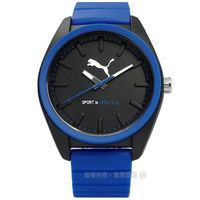 PUMA ^#47 PU911241006 ^#47 活力非凡玩色層次 橡膠手錶 黑x藍