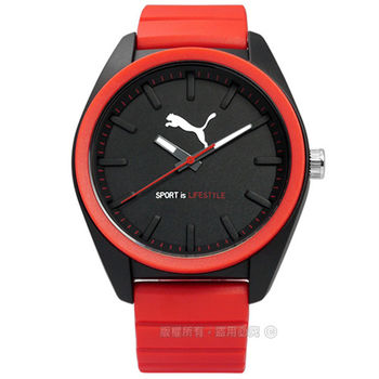 PUMA / PU911241010 / 活力非凡玩色層次運動橡膠手錶 黑x紅 45mm