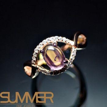 【SUMMER寶石】天然頂級奢華碧璽戒指(925銀玫瑰金色)