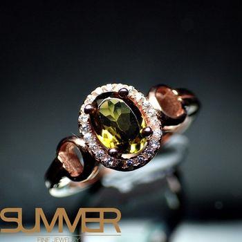 【SUMMER寶石】天然頂級奢華碧璽戒指(925銀玫瑰金色) (AG-2)