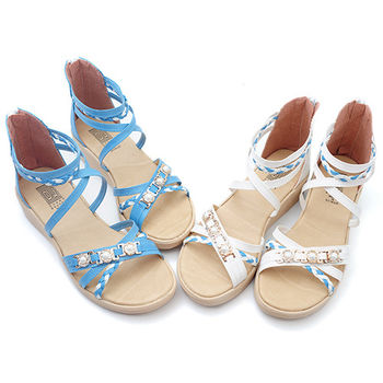 【 cher美鞋】閃耀戀夏寶石編織涼鞋♥白色/藍色♥6627-03
