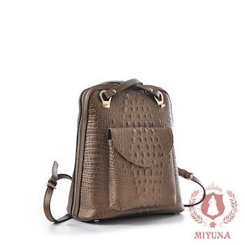 【MIYUNA】韓國立體鱷魚紋全真牛皮後背包-復古銅