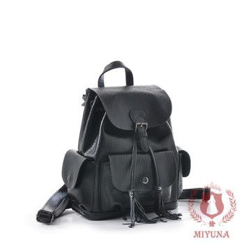 【MIYUNA】米蘭大象紋全真牛皮多功能後背包-質感黑