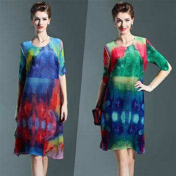 【糖潮】歐美時尚水墨畫迷彩壓摺皺洋裝(共二色)