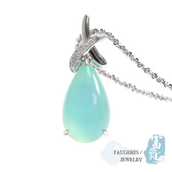 【富爵珠寶】祕魯藍蛋白石-天使的眼淚14K金鑽墜-K001S