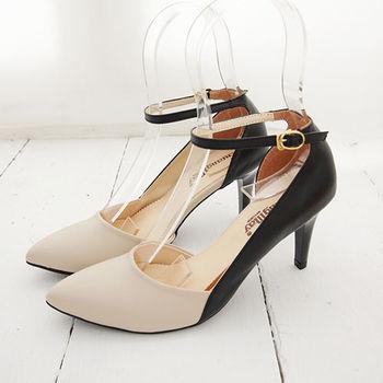 《DOOK》性感繞踝雙色拼接繫帶高跟鞋