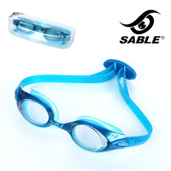 【黑貂SABLE】休閒亮麗 標準光學平光運動泳鏡(藍色)
