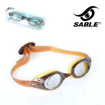 【黑貂SABLE】休閒亮麗 標準光學平光運動泳鏡(琥珀)
