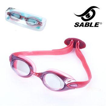 【黑貂SABLE】休閒亮麗 標準光學平光運動泳鏡(紅色)