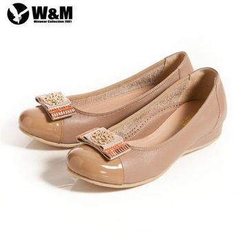 【W&M】立體花編造型寬帶蝴蝶結 優雅舒適低跟鞋 卡其(另有黑)