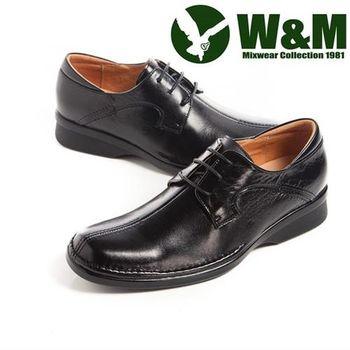 【W&M】 西裝筆挺必備西裝鞋正裝男仕繫繩皮鞋-黑