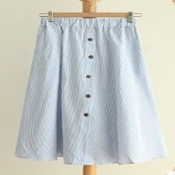 [協賀]純色條紋半身裙百搭裙子