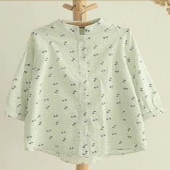 [協賀]蝴蝶結印花立領棉短袖襯衫