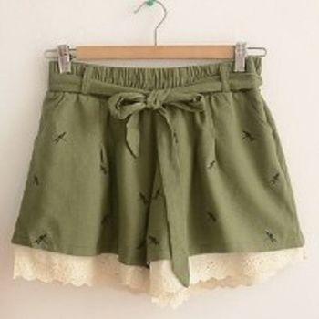 [協賀]鬆緊腰繫帶花邊短款褲裙
