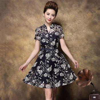【Jisen】嫵媚動人印花蕾絲洋裝