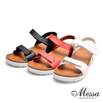 【Messa米莎專櫃女鞋】MIT極簡雙帶魔鬼氈舒適厚底涼鞋-三色-型(網)