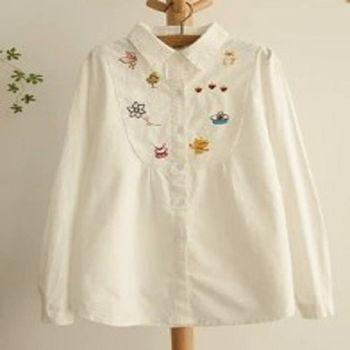 [協賀]卡通刺繡白色棉長袖襯衫