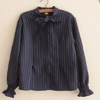 [協賀]黑條紋棉襯衫
