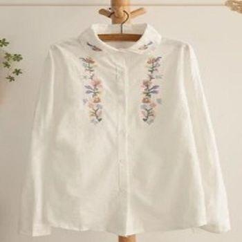[協賀]娃娃領直筒白色棉襯衫